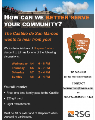 Castillo de San Marcos Discussions for Latinos/Hispanics