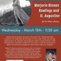 Wednesday Brown Bag Lunch Program: Marjorie Kinnan Rawlings and St. Augustine