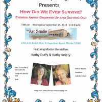 The Art Studio & Gallery Presents: The Florida Storytelling Troupe, Kathy Duffy & Kathy Kniery