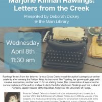 Wednesday Brown Bag Lunch Program - Marjorie Kinnan Rawlings: Letters from the Creek (Cancelled)